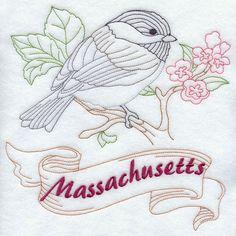 Massachusetts - Chickadee (Redwork)