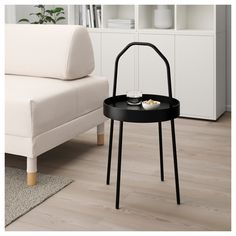 BURVIK Side table, black, It´s always there for you. Lovely throughout the home and easy to lift so you can rearrange your living space whenever you feel like it. Ikea Side Table, Black Side Table, White Side Tables, Table Frame, Hemnes, Good Grips, Modern Room, Wood Veneer, Cleaning Wipes