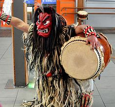 Namahage (生剥?) in traditional Japanese folklore is a demonlike being, portrayed by men wearing oversized ogre masks and traditional straw capes (mino(ja)) during a New Year's ritual of the Oga Peninsula area of Akita Prefecture in northern Honshū, Japan.