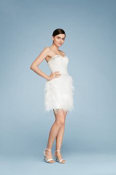 Cheers Cynthia Rowley Two Piece Wedding Dress with Feather Skirt exclusively at David's Bridal