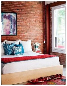 exposed brick : style at home march 2012 Fake Brick Wall, Exposed Brick Walls, Style At Home, Estilo Industrial Chic, Industrial Loft, Home Bedroom, Bedroom Decor, Bedroom Ideas, Modern Bedroom