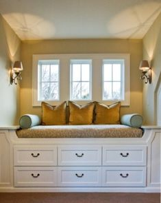, Traditional Bedroom Design Also Seat With Storage Solutions For Small Spaces Also Light Brown Wall Paint Color And Traditional Windows Design Also Goldenrod Cushions And Elegant Wall Lights: Some Cool Ideas of Storage Solutions for Small Spaces Window Benches, Window Seats, Window Bed, Attic Window, Window Seat Storage, Attic Renovation, Attic Remodel, Banquettes, Traditional Bedroom