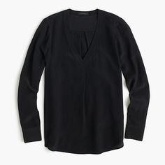 J.Crew | Tall Silk Drapey V-neck Blouse | Tall 8 | Black/Brunswick Blue/Ivory? | $118