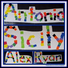 Reading often begins with a child's name: Kindergarten First Name Mosaics with Construction Paper via RainbowsWithinReach. Kindergarten Names, Preschool Names, Beginning Of Kindergarten, Name Activities, Kindergarten Literacy, Preschool Activities, Daycare Curriculum, Preschool Alphabet, Homeschooling