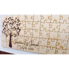70 Piece Love Birds Engraved Wood Puzzle Wedding Guest Book, Rustic ...