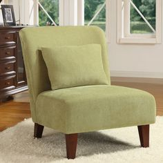 Relax after a rough day with this comfortable contemporary accent chair. An elastic web back and S-springs on the back and seat create a soft and comfortable feel, while the pale sage green shade adds a colorful touch that won't overwhelm you.