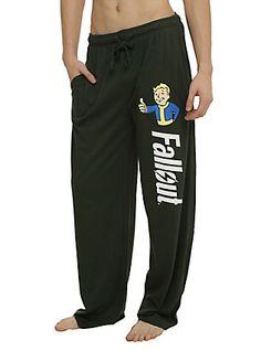 Fallout Vault Boy Guys Pajama Pants, GREEN