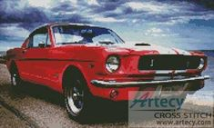 Ford Mustang Counted Cross Stitch Pattern to print online. Ford Mustang Car, Old Fords, Counted Cross Stitch Patterns, Media Design, Cross Stitching, Needlework, Pattern Design, Embroidery, Quilts
