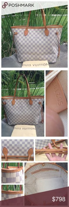 Auth. Louis Vuitton Neverfull Azur MM *W/DUST BAG* Preloved auth. Louis Vuitton Neverfull MM in Damier Azur, 1 XL dust bag is included w/the purchase. Inside: there are no rips or tears, all stitching are tight.  It needs a cleaning due to the stains and marks, no offensive odor. Exterior: no cracks or tears. All 4 bottom corners are in great shape w/rubbing from used.  The leather trim around the top opening is intact, no rips or tears, just some scurffing.  The two handles has a beautiful…