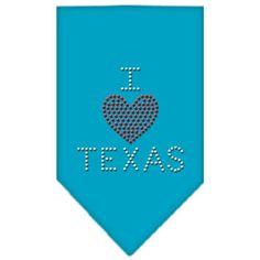 I Heart Texas Rhinestone Bandana Turquoise Small