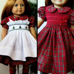 Handmade SHORT Cotton Mint and White Gingham Checked Print Dress FOR Dolls