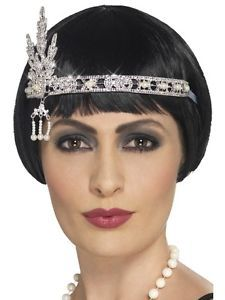 Silver Jewel Flapper Headband 1920s Gatsby Flappers Fancy Dress Accessory | eBay