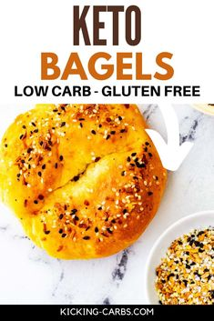 "No need to miss bagels on a low carb diet! These Keto Bagels are a delicious alternative that is surprisingly similar to the ""real thing."" They are perfect for enjoying while lingering over a coffee cup on the weekend and work just as well for a busy weekday morning. Low Carb Bread, Keto Bread, Low Carb Diet, Almond Recipes, Low Carb Recipes, Real Food Recipes, Keto Bagels, Sandwiches For Lunch, Gluten Free Baking"