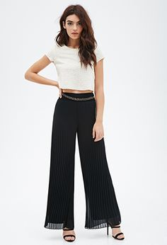 Accordion-Pleated Wide Leg Pants | FOREVER21 - 2000099109