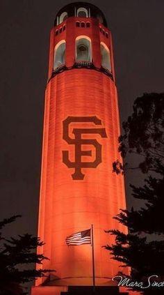 Orange October - San Francisco Coit Tower decked out in Giants orange and black. The Quest For October! San Francisco California, San Francisco Bay, Hampshire, Wyoming, Arkansas, Washington Dc, Iowa, Illinois, Minnesota