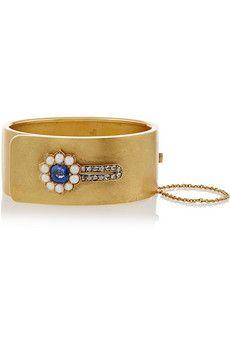 Olivia Collings 1860s 18-karat gold, sapphire, diamond and pearl bracelet   NET-A-PORTER