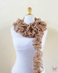 Knit Scarf BEIGE / CAMEL / EARTH  Ruffled by OriginalDesignsByAR, $24.95