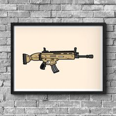 Fortnite inspired gaming poster of the SCAR Assault Rifle. This gaming poster makes the perfect addition to any gaming room man cave girl cave or kids room. The scar assault rifle is one of the most sought after weapons in Fortnite's Battle Royale. Gaming Posters, Room Posters, Halo Poster, Girl Cave, Man Cave, Deco Gamer, Gaming Wall Art, Gamer Room, Gamer Gifts