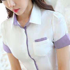 Cheap Verano estilo coreano gasa camisa para mujer mujeres blancas blusa con bolsillos manga corta ocasional da vuelta abajo Blusas de gasa cuello 3XL, Compro Calidad Blusas y Camisas directamente de los surtidores de China: