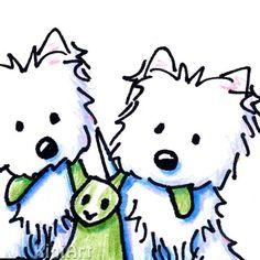 Westie Terrier Dog Duo Puppeteers ACEO Original Art Illustration. $40.00, via Etsy.