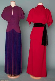 Two Silk Crepe Evening Gowns, 1940s, Augusta Auctions