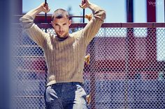 Ed Skrein in a lux Gucci cable knit sweater. Gucci Cable Knit Cashgora, $630, mrporter.com  Slim Fit Slub Wool and Cashmere Blend Suit Trousers, $375, mrporter.com  Photography by Eric Ray Davidson for Yahoo Style
