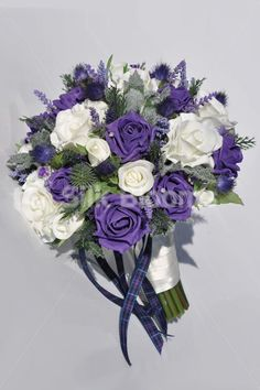 Vintage Purple Roses, Scottish Thistle & Heather Bridal Wedding Bouquet