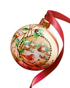 Holly Beguiling Orb Christmas Ornament by Patricia Breen Design Group at Neiman Marcus.