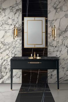 Riviere collection by Oasis – luxury bathroom furniture Although perhaps lacking the unique patterns that are a huge part of classic art deco design, this space does use the marble, white shades, and metallic fixtures. Modern Luxury Bathroom, Bathroom Design Luxury, Luxury Bathrooms, Beach Bathrooms, Hotel Bathrooms, Luxury Shower, Dream Bathrooms, Bath Design, Bad Inspiration