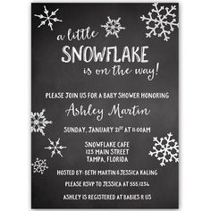 Little Snowflake Chalkbaord Blue Baby Shower Invitation - Invite guests to your boy baby shower with this simple winter themed invitation featuring snowflakes and decorative blue lettering on a gray background. Snowflake Baby Shower, Little Snowflake, Christmas Baby Shower, Baby Shower Winter, Baby Winter, Snowflake Party, Outside Baby Showers, Baby Shower Chalkboard, Baby Shower Themes