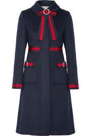 75866a602795 Gucci Embellished grosgrain-trimmed wool coat Gucci Coat, Gucci Dress, Navy  Jacket,
