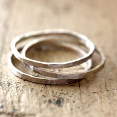 Hammered Stacking Rings Sterling Silver from Praxis Jewelry