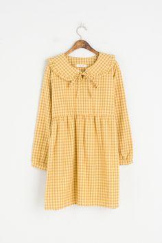 Big Frill Collar Check Dress, Yellow, 100% Cotton