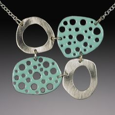 Mod Perforated Choker in Robin's Egg by Beth Novak. This simple, modern choker blends the versatility of silver and the eye-catching texture of enameled, perforated copper. The sterling chain has a 2