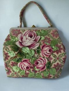 SALE  1950s Jolles Original Oversized Carpet Bag with Appliqued  Needlepoint and Silk Leaves