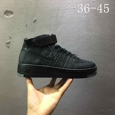 Newest Nike air force 1 AF1 Flyknit high All Black Noir 817420 001 Youth Big  Boys 5a14fabfa