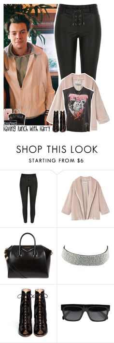 """""""Having lunch with Harry"""" by lottieaf ❤ liked on Polyvore featuring River Island, MANGO, Givenchy, Charlotte Russe, Gianvito Rossi, CÉLINE, OneDirection and harrystyles"""