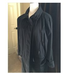 "Fantastic all weather jacket black EUC Amazing black all weather jacket. Zip front with snaps as well. Front flap pockets and also has 2 zip pockets. Very soft Fabric inside. Shell is 78% nylon, 22% cotton. Lining 100% polyester 35"" from neck to hem. Sleeves can be cuffed if desired. Excellent condition. Kristen Blake Jackets & Coats Utility Jackets"
