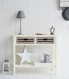 Norfolk Cream console table for hall furniture. Country cottage and coastal shabby chic hallway furniture from The White Lighthouse