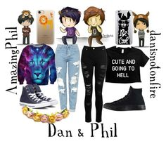 """Dan & Phil"" by theliviafiles ❤ liked on Polyvore featuring OTM Essentials, Casetify, Dorothy Perkins, Topshop and Converse"
