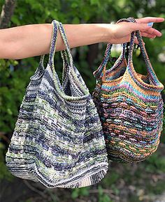 Now in two sizes! This practical market bag is perfect for a quick trip to the grocery, or for toting along your current knitting project! Knit with two colors of Queensland Cairns, a sturdy cotton/acrylic blend – the unique two-colored chain construction yields fabulous, colorful results! Starting with a square bottom knit flat, stitches are picked up along all edges to knit the body of the bag in the round. The basketweave pattern is created with a slip-stitch mosaic stitch, and the top edge Knitting Gauge, Knitting Needles, Yarn Cake, Color Kit, Cairns, Market Bag, Sock Yarn, Slip Stitch, Knitting Projects