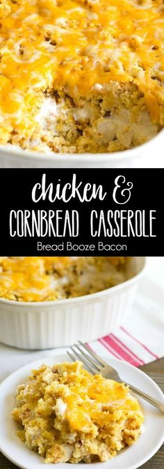 Chicken & Cornbread Casserole is one of those dishes that just screams comfort f. Chicken & Cornbread Casserole is one of those dishes that just screams comfort food! Every time I eat it, I& transported back to my grandma& kitchen! Cornbread Casserole, Casserole Dishes, Chicken Corn Bread Casserole, Chicken Cornbread Recipe, Cornbread Stuffing, Slow Cooker Recipes, Cooking Recipes, Lunch Recipes, Lunch Meals