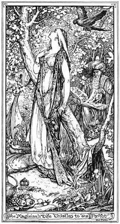 The Blue Parrot    H.J. Ford    Andrew Lang, The Olive Fairy Book