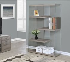 Tempered Glass Bookcase Display Shelves Contemporary Glass Dark Taupe Furniture #Doesnotapply