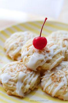 Pina Colada Cookies with Rum Glaze