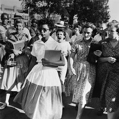 Elizabeth Eckford in front of Little Rock Central High School, 4 September 1957.
