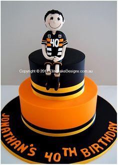 Better plan for John too! Birthday Party Games, Man Birthday, Birthday Ideas, Birthday Cake, Fondant Cakes, Cupcake Cakes, Cupcakes, Wests Tigers, Tiger Cake