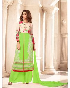 Stutti Fashion Designer Green Color Straight Long Suit At Rs.1699