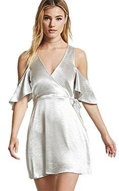 d7f0be4be1bcca Hodoyi 2017 Fashion Silver Deep V-neck Wrap Women Mini Dress Cold Shoulder  Ruffle Tie Waist Vestidos Lady Sexy Club Party Dress