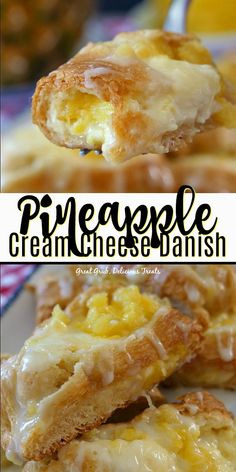 Pineapple Cream Cheese Danish is a delicious danish recipe loaded with fresh pineapple and a delicious cream cheese filling.This Pineapple Cream Cheese Danish is a delicious danish recipe loaded with fresh pineapple and a delicious cream cheese filling. Cream Cheese Recipes, Cream Cheese Filling, Easy Cream Cheese Desserts, Köstliche Desserts, Delicious Desserts, Breakfast Cheese Danish, Breakfast Pastries, Sweet Breakfast, Breakfast Ideas
